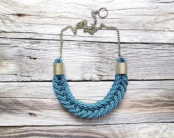 Blue green Rope necklace Nautical rope knot necklace
