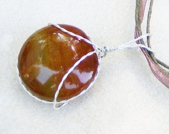 Bicolored Agate Pendant - Handmade Wire Wrapped 2-Sided, Puffed Round in .925 Sterling Silver by JewelryArtistry - P634