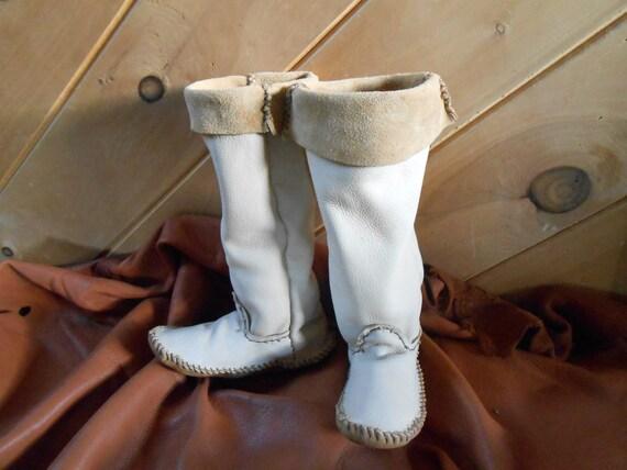 Mocasín alto botas mocasines hechos a mano cosidos a mano por ... 820f1fb23020b