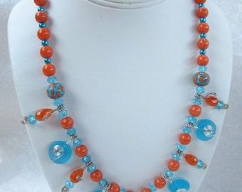 Blue Sea Glass, Lampwork and Carnelian Necklace
