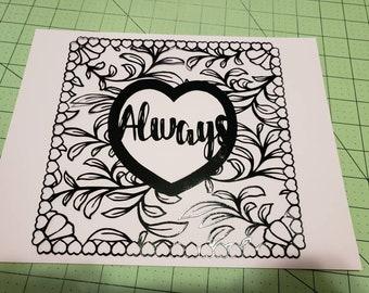 Always, valentine, decor, decoration, home decor, wall art, paper art, papercut, love, heart, black