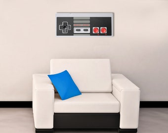 """Retro 8-bit controller laser cut and sublimated metal sign 9"""" x 21"""""""