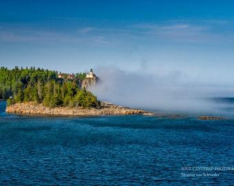 Split Rock Lighthouse, Lake Superior North Shore, Fog, Spring, Landscape Photography, Fine Art Print, Blue Green, Panorama Print, Minnesota