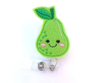 Cute Badge Reel ID Holder Retractable - Pear - light green felt - nurse badge reel medical badge reel - fruit nutritionist dietician