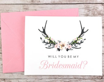 Will You Be My Bridesmaid Card, Bridesmaid Proposal Card, Floral Bridesmaid Card, Wedding Card, Bridesmaid Gift - (FPS0024)