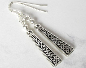 Celtic Knot Dangle Earrings, Sterling Silver Beads, Sterling Silver Earwires