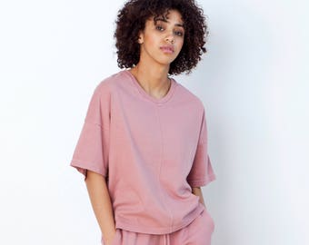 Oversized Slouchy Tee | Boxy Batwing Cotton Fashion Top| Loose Fit | V-Neck Crewneck | Pink Red Green Black White