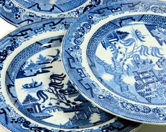 Three Antique Blue Willow Deep Dinner Plates Semi China