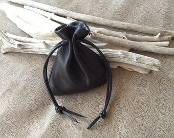 Leather  Drawstring Pouch Bag In Black