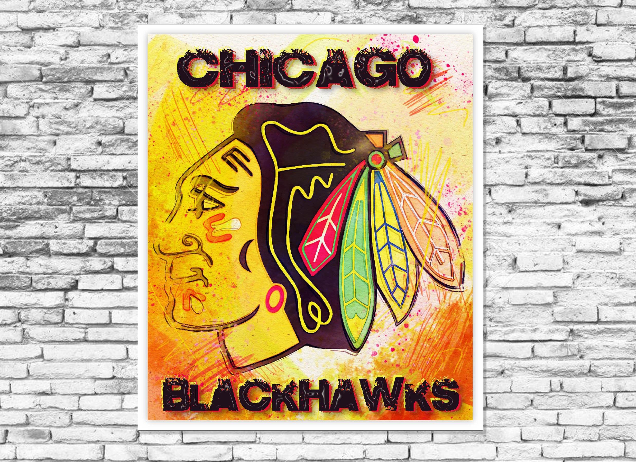 Blackhawks Print on Canvas Poster Sticker Decal Metal