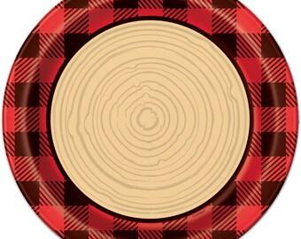 Lumberjack Buffalo Plaid Check Paper Plates - First Birthday Plaid Baby Woodland Animals Shower Tableware Rustic & Plaid plates   Etsy