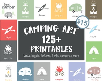 Modern Camping Print   Instant Download   Outdoor Camping Set   Nursery Printable   Digital Download   Nursery Wall Art   Camping Party