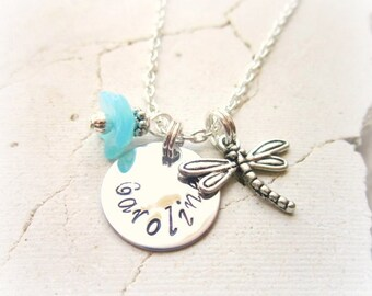 Girl's Personalized Necklace.Children's Flower Dragonfly Necklace.Stamped Name Necklace.Girls Birthday Gift. Stamped Jewelry. Flower Girl