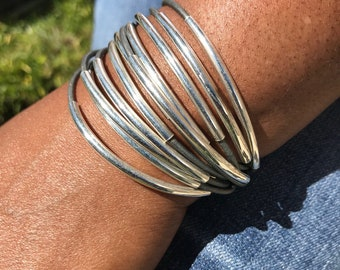 Cuff Bracelet, Gray Leather, Leather, Wrap Bracelet, Gray, Bangle, Tube Beads, Silver Tubes, Noodle, Magnetic Clasp, Multi Strand, Tube Bead