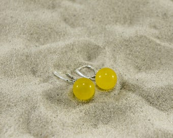 Amber earrings, sunny and honey polished round natural amber bead earrings (more sizes) 4983, 4984, 4985