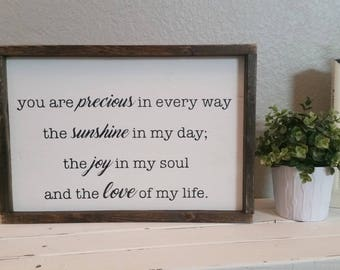READY TO SHIP, you are precious in every way. 19.5x13.5 wood sign - black & white - farmhouse - gallery wall - nursery decor - kids room