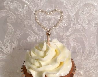 Bead heart cupcake toppers - Set of 12 - Small