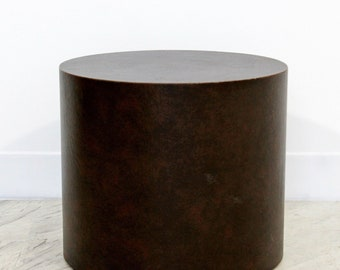 Mid Century Modern Brown Leather Wrapped Circular Pedestal Display Stand