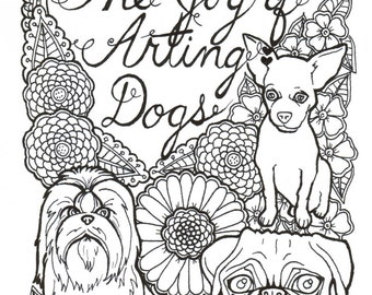 15 Pages Of Dogs Coloring Book