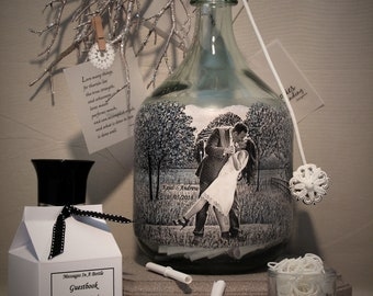 Bridal Shower Well Wishes Bottle, Personalized Guestbook, Messages In A Bottle Guestbook With Your Photo and Hand Painted Embellishments