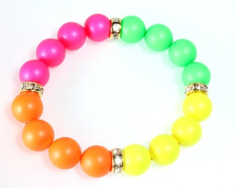 Neon Swarovski Pearl and Crystal Bracelet, Stretch Bracelet, Neon Colors, Neon Orange, Neon Green, Neon Yellow, Neon Pink