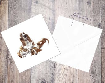 Pair of Basset Hounds Greeting Card - Mummy and Baby