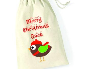 Personalised Robin Merry Christmas Santa Sack Xmas Present Stocking Drawstring Custom Printed Keepsake Tumblr Pintrest