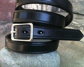 Skinny Vintage Noir Handcrafted Leather Belt