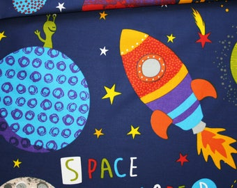 Space rocket, planets, 100% cotton fabric printed 50 x 160 cm, cosmos on a dark blue background