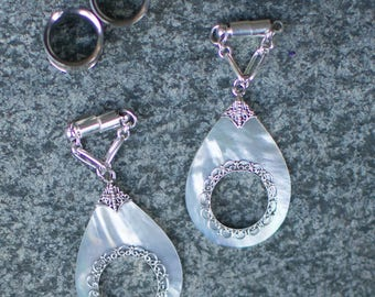 Sterling Silver Mother of Pearl Magnetic Clasp Gauged Earrings
