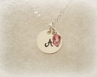 Childs initial necklace birthstone pendant personalized initial necklace birthstone initial necklace birthstone necklace monogram initial jewelry letter aloadofball Image collections