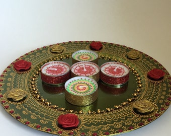 Henna Party Gifts : Set of henna decorated floating candles wedding