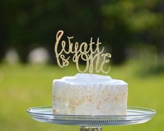 Personalized Cake Topper, Is One Topper, Custom Decor, Gold Glitter Cake Topper