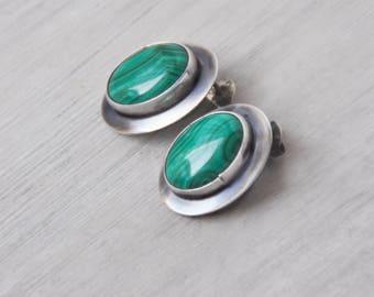 Vintage Malachite Stud Earrings - 925 sterling silver flange around green oval gemstone - post backs for pierced ears