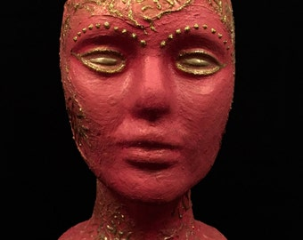 Head Art Female Mannequin Head OOAK Fantasy Mixed Media Styrofoam Metallic Gold Texture Mediums Decoupage Art Pink Gold Wig Hat Display
