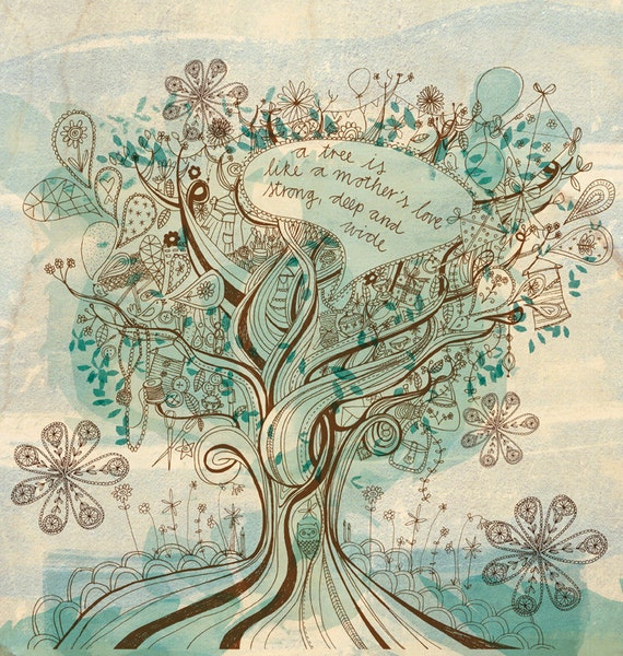 A Mother's Love Wall art print - tree illustration