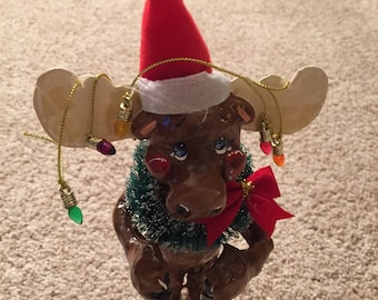 Moose A Christmas Ornament Cake Topper And Moostly Wants  A Home