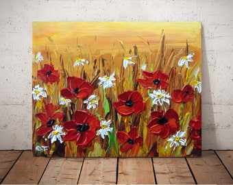 Abstract Floral Art, Acrylic Painting, Original Canvas Art, Poppies Painting, Red Flowers, Palette Knife, Textured Painting, Impasto, 8x10
