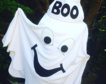 Halloween Ghostly Ghoul Costume Childrens Halloween Dressup Ghost Poncho and Separate Pull On Hat - Trick or Treat Boo