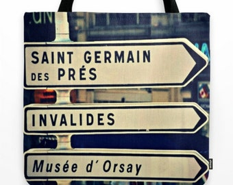"18"" French Canvas Tote w Black Tassel - Directions to Saint Germain de Pres S'il Vous Plait - Travel Photography - Bridesmaid Gift"