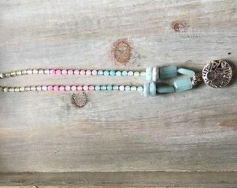 Translucent Aquamarine , agate necklace, round, heishi and rectangular beads,
