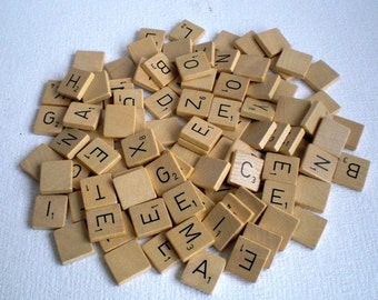 101 Vintage Scrabble Tiles, Vintage Bulk Letters,One set from a Dutch Scrabblegame 1970's..