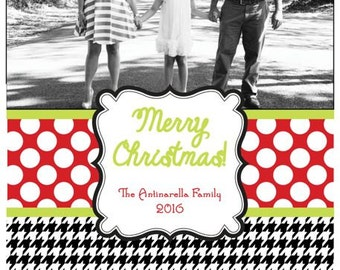 Red Polka Dot and Houndstooth Photo Christmas Card