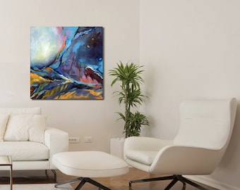 Abstract Landscape, Original Acrylic Painting, Blue Painting, Acrylic Paintings On Canvas, Painting Abstract Acrylic, Painting On Canvas