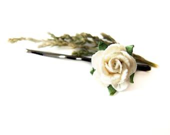 White Rose Bobby Pin, Rose Hair Pin, Flower Clip, White Rose Hair Clip, Flower Bobby Pin