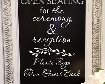 Wedding Sign Open Seating Ceremony Reception Guest book Vinyl Lettering Decal Rustic Barn Wedding Decor DIY Lettering for Sign Personalized