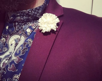 Mens Cream Satin Mens Lapel Pin Flower Wedding Boutonniere Groomsmen Lapel Pin