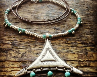 Boho Necklace | Leather Necklace | Antique Silver Plated Zamak Triangle Necklace | Native American Style Necklace | Bohemian Ethnic Necklace