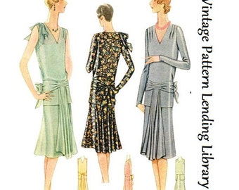 1929 Ladies Evening Dress With Front Drapes - Reproduction Sewing Pattern #Z5751