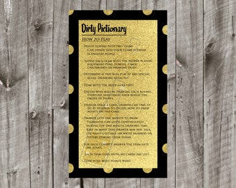 Dirty Pictionary - Bachelorette Party - Champagne Themed - Bridal Shower Decor - Instant Download - Print At Home - DIY - T0001